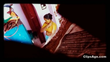 Desi maid changing dress captured using hidden cam placed in room