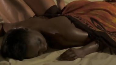 Ebony Girl Gets A Massage By A Skinny Man