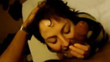 White British girl passionately sucking Indian cock