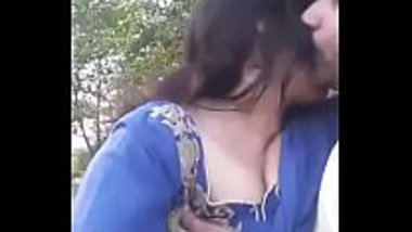 Hot selfie video of a young couple in a park