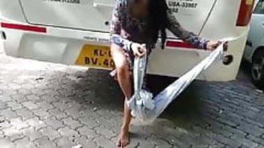 Mallu exhibitionist girl stripping in public