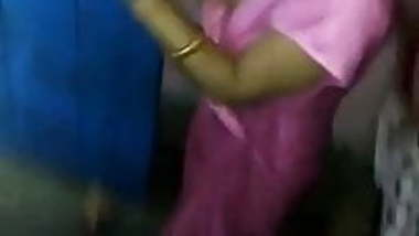 Indian wife sexy dance in a satin night gown